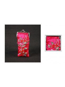 Fuchsia Embroidered Floral Brocade Glasses Bag