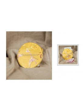 Bright Yellow Round Flat Coin Brocade Bag