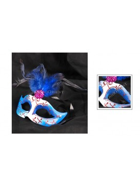 Venetian Style Cock Tail Feather Eye Mask---Blue