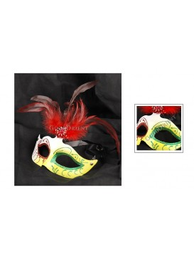 Venetian Style Cock Tail Feather Eye Mask---Yellow