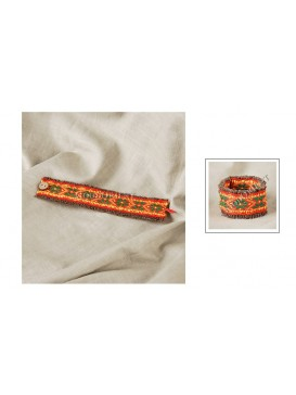 Miao Style Colorful Cloth Bracelet---African Daisy