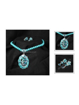 Azure Lily Necklace & Earrings Set