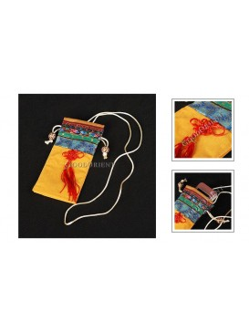 Bright Yellow Folk Handicraft Cellphone Bag