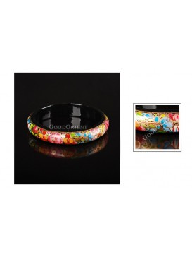 Multicolor Flowers Wooden Bangle