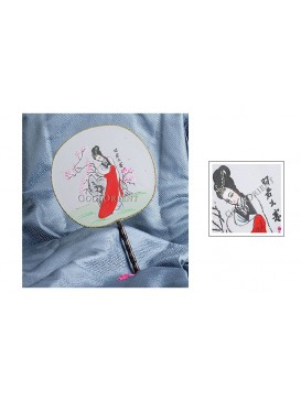Hand Painted Round Palace Silk Fan---Zhaojun Departs the Frontier