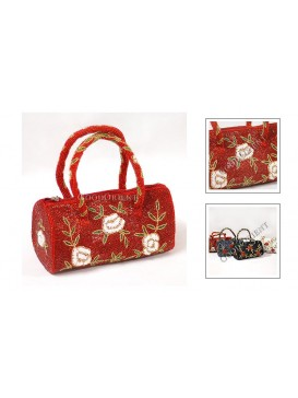White Rose and Red Rose Beaded Bag