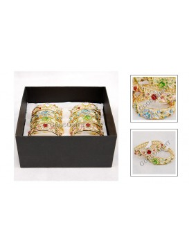 Cloisonne Floral Bangle with Rhinestone Inlay---Crystal