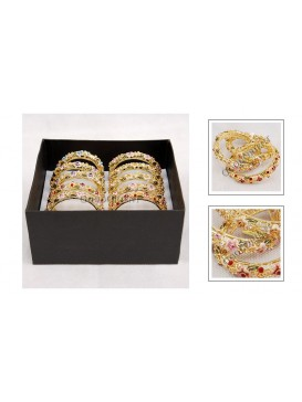 Cloisonne Floral Bangle with Rhinestone Inlay---Summer Flower
