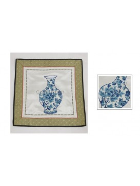Chinese Blue Peony Vase Hand Embroidery