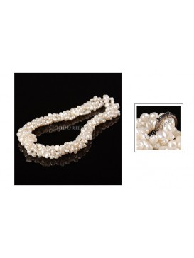 White Pearl Spiral Necklace