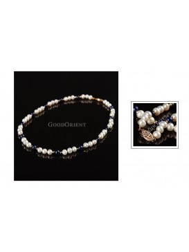 White and Navy White Pearl Necklace