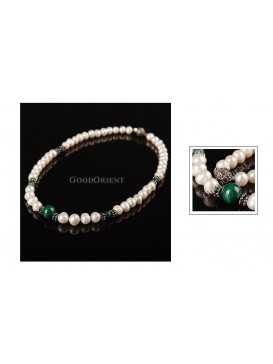 Peacock Green & White Pearl Necklace