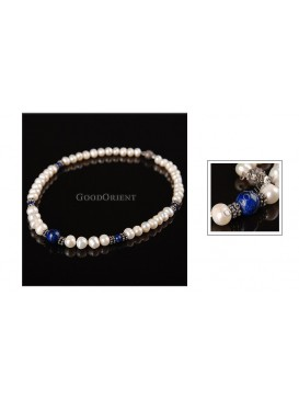 Peacock Blue & White Pearl Necklace