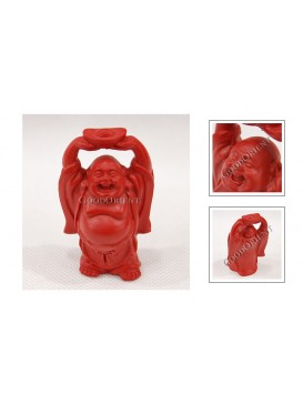 Carved Cinnabar Lacquer Happy Buddha Statue---Raising Ingot