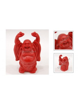 Carved Cinnabar Lacquer Happy Buddha Statue---Raising Pearl
