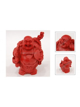 Carved Cinnabar Lacquer Happy Buddha Statue---Lifting A Ruyi and A Fan