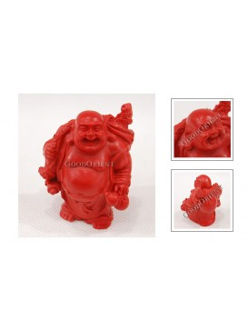 Carved Cinnabar Lacquer Happy Buddha Statue---Lifting A Ruyi and A Calabash