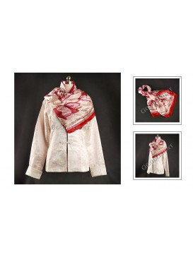 Wine Red Square Silk Scarf