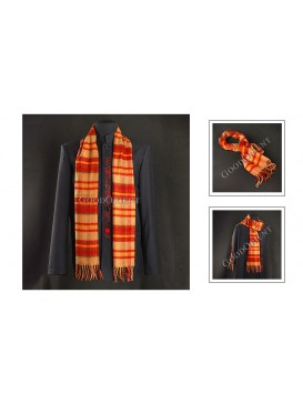 Thick Red and Brown Checked Woolen Scarf