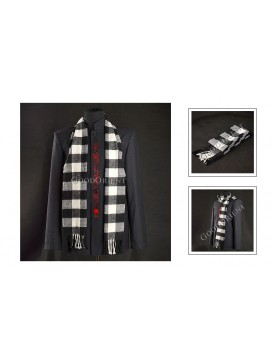 Thick White and Black Checked Woolen Scarf