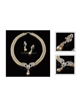 Crystal Butterfly And Sparkling Pearl Series-- Necklace and Earrings