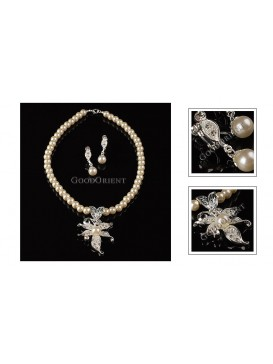 Crystal Flower And Sparkling Pearl Series-- Necklace and Earrings