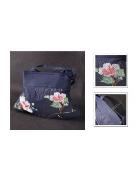 Noble Hand-made Embroidered Lotus Flowers Linen Handbag --- Deep Navy