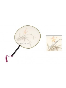 Round Silk Palace Fan --- Noble orchid