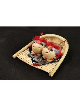 Handmade Clay Figurines --- Cute Happy Cows In The Bamboo Dustpan