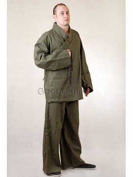 Olive Green Linen Kungfu Pants