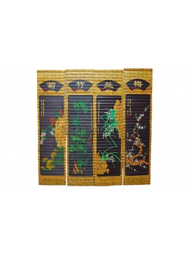 Bamboo Screen-Four Noble Plants