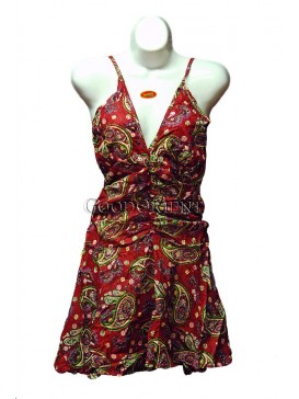 Wine Red Floral Low V-neck Halter dress