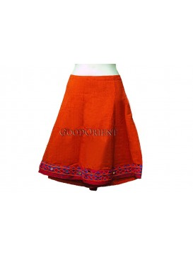 Enthusiastic Nepal Orange Cotton Skirt
