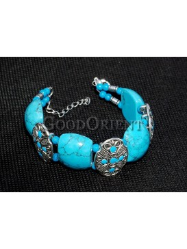 Turquoise Stone And Silver Bracelet