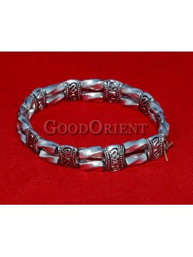 Drum And Twisted Column Silver Bracelet
