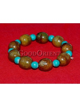 Turquoise And Spotted Stone Bracelet