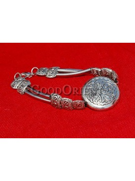 Drum And Round Floral Silver Bracelet