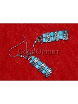 Drum-shaped And Turquoise Beaded Earrings