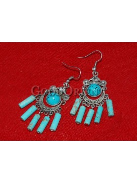 Turquoise Stones And Silver Earrings
