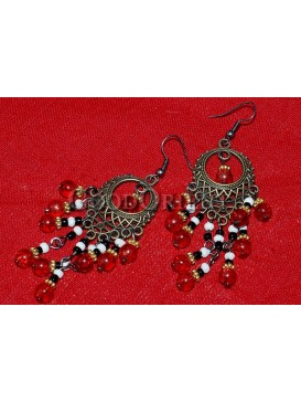 Red Beaded And Bronze Earrings