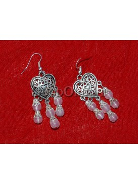 Pink Beaded And Sweet-heart Silver Earrings