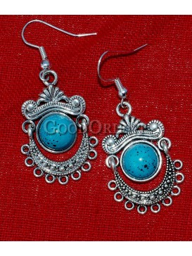 Natural Turquoise Stone And Silver earrings