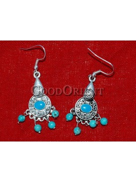Turquoise Beaded And Calabash Silver Earrings