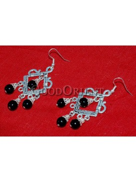 Black Beaded And Square Silver Earrings