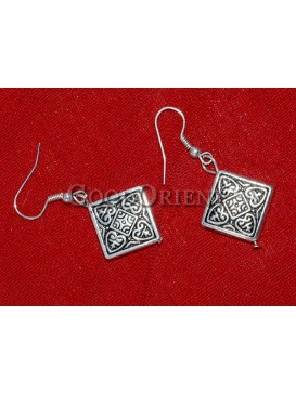 Tibetan Floral Square Silver Earrings