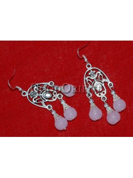 Pink Beaded And Silver Earrings