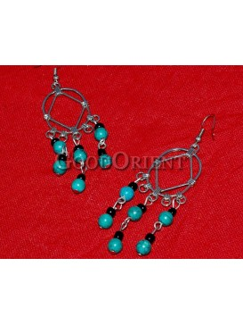Natural Beaded And Ellipse Silver Earrings