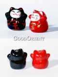 Fortune Cats In Red And Black-Key Chains