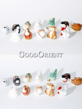 Porcelain Key Chains-Chinese Twelve Zodiac Animals