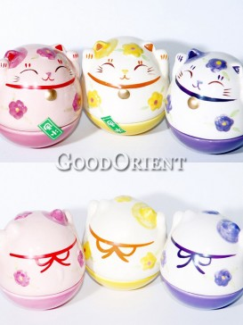 Porcelain Maneki Neko-Pink,Yellow,Purple